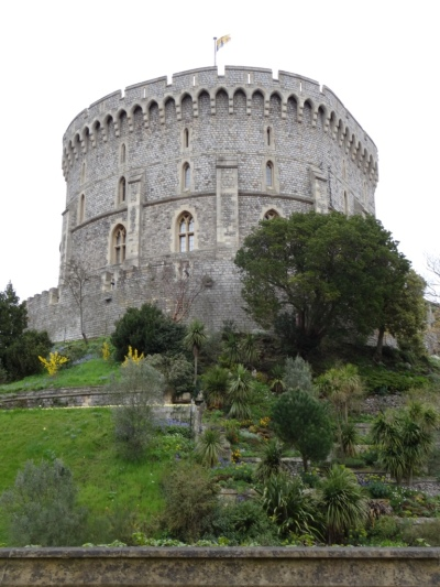 Another view of Windsor Castle with garden in foreground