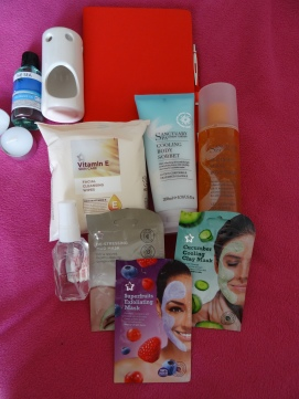 bubble bath, perfume, moisturising lotion, face masks, are just some of the things inside my paper box