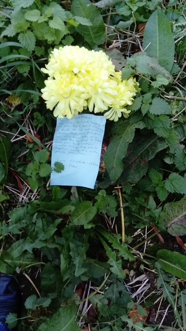flowers and note I left