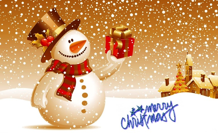 Snowman holding a present with a house and Christmas tree in the background. A snowy scene. With the words Merry Christmas.