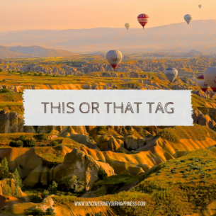 Words, this or that tag on an image that shows hot air balloons over the mountains