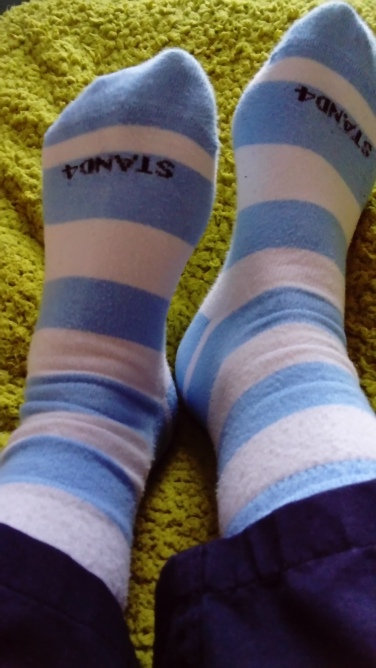 blue and white stripped socks