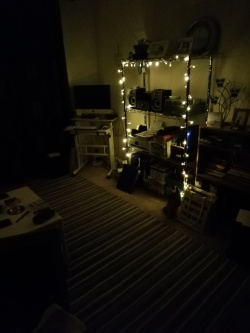 My flat at night