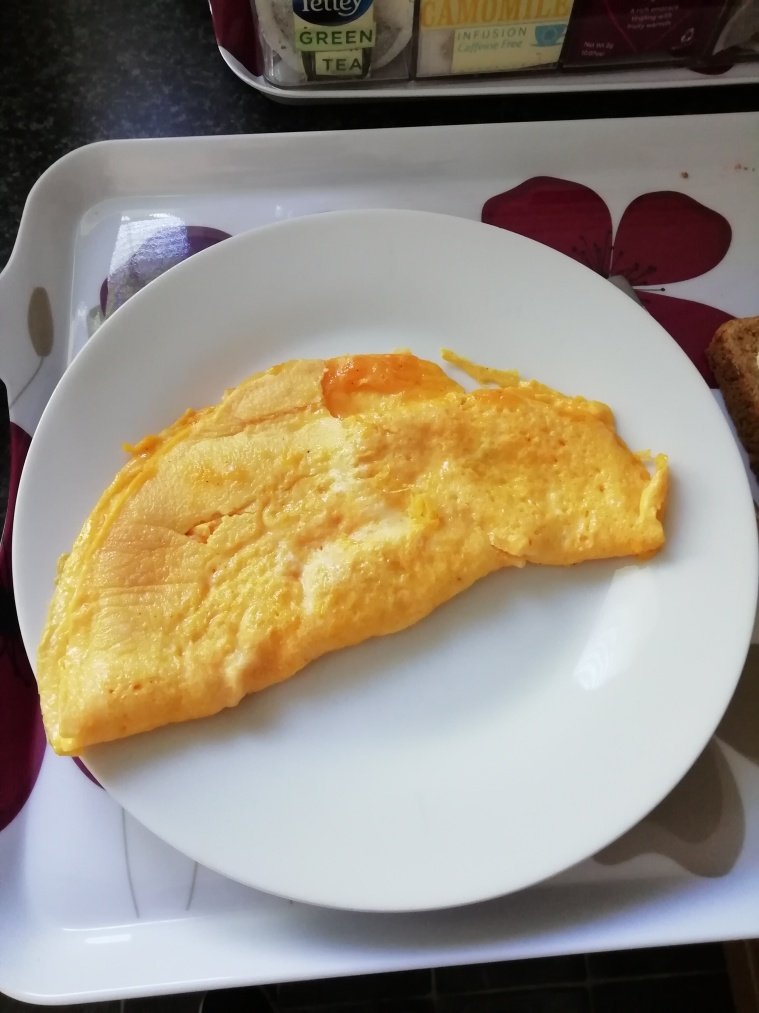 My omelette on plate