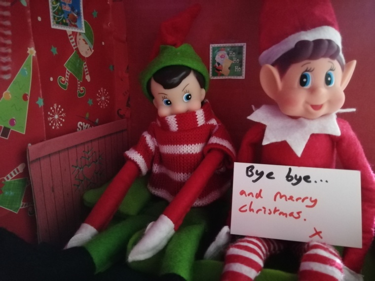 Nick and Noel selfie. Holding a sign saying bye bye and Merry Christmas. Photo taken inside their hone.