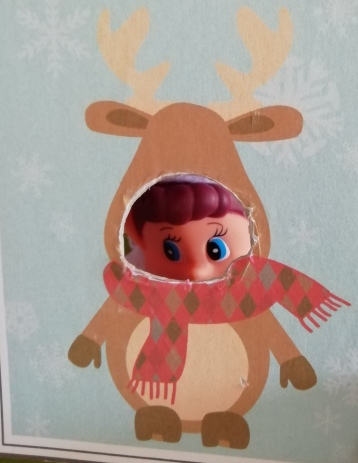 Noel sticking his face through a cut out face reindeer picture